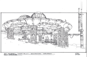 THE MAIN STRUCTURE FOR SAVAREEN, CONCEPT ART BY WILL HTAY, DONE IN STAEDTLER MARKERS AND SHARPIE ON LAYOUT PAPER.