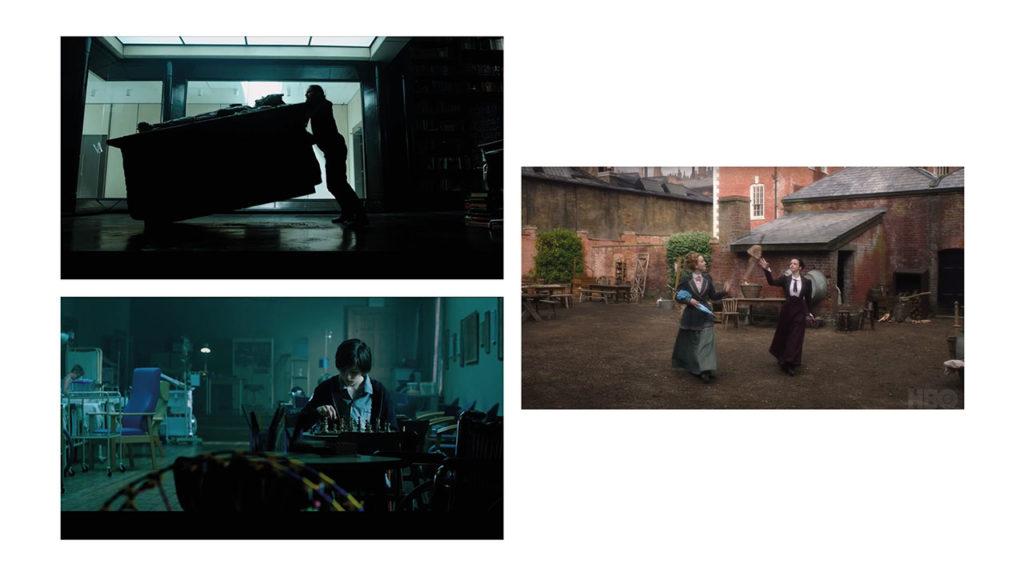 Morbius – Tomb Action Prop, Morbius – Chess Set Action Prop, The Nevers – Umbrella Action Prop. Set Decorator: Tina Jones